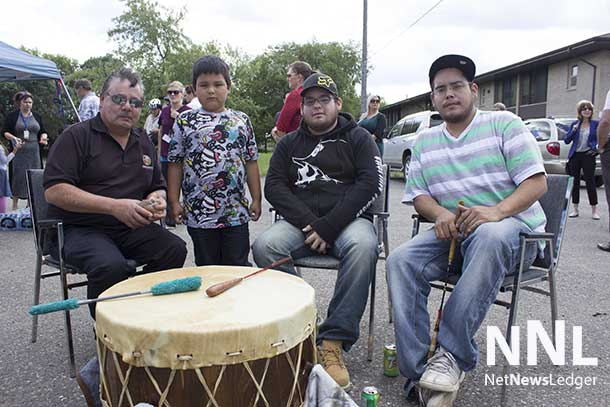 The grand opening of the Joseph Esquaga Health Centre started with a welcoming song on the drum.
