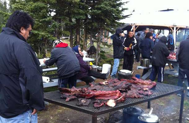 Communities across the North come together for feasts. Here in Fort Severn, the community shares after the annual Bull Hunt.