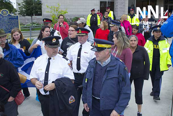 The command officers from several of the Police Services walked with Full Moon Memory Walkers.