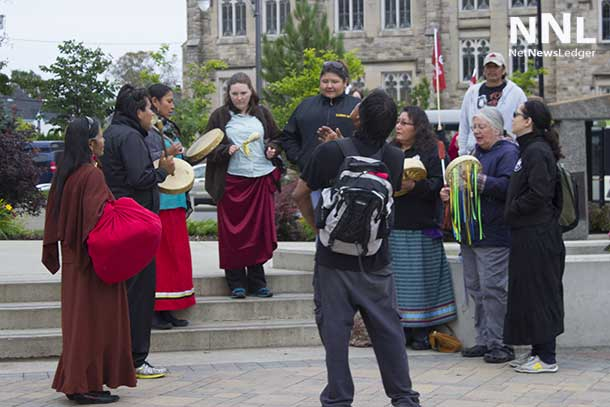 Hand Drummers outside at Thunder Bay City Hall for the Full Moon Memory Walk