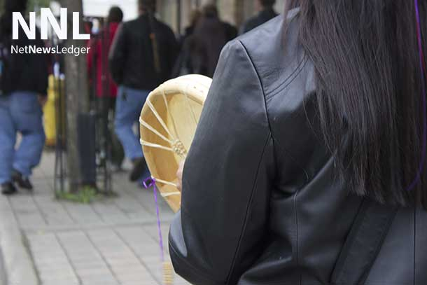 Walking with a hand drum - Full Moon Memory Walk 2014
