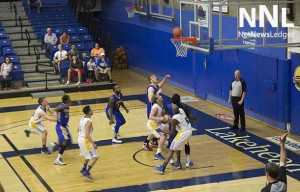 Serious action in the third period at the Lakehead University Thunderwolves Basketball game