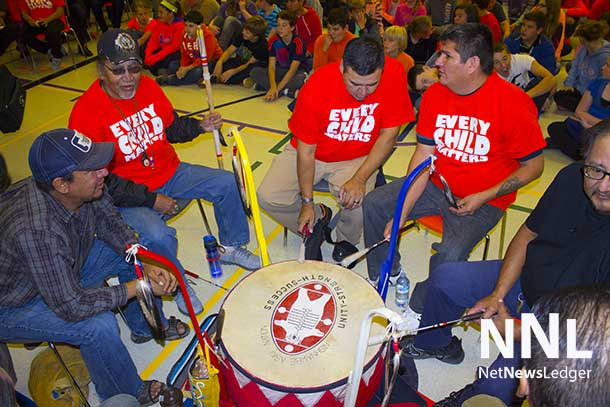 NAN Drum at Pope John Paul II School in Thunder Bay