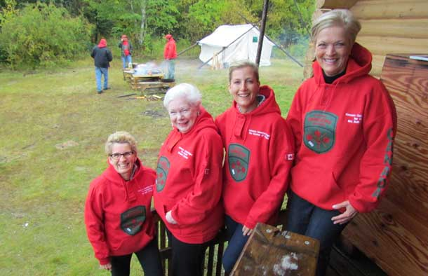 Newly appointed as honorary Canadian Rangers, Ontario Premier Kathleen Wynne, Ontario Lieutenant-Governor designate Elizatheth Dowdeswell, the Countess of Wessex, and Ruth-Ann Onley, wife of Ontario's Lieutenant Governor, proudly wear their Ranger hoodies