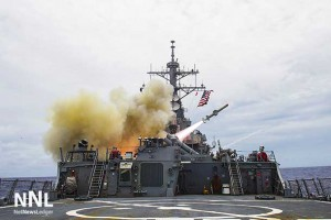 Tomahawk Missile fired from United States Warship in war against ISIL/ISIS