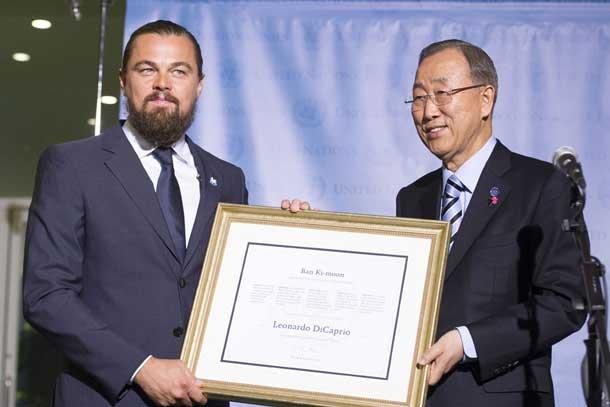 Pictured left to right: United Nations Messenger of Peace, Leonardo DiCaprio and UN Secretary-General Ban Ki-moon. UN Photo/Mark Garten Pictured left to right: United Nations Messenger of Peace, Leonardo DiCaprio and UN Secretary-General Ban Ki-moon. UN Photo/Mark Garten