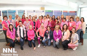 Thunder Bay Regional Health Sciences Centre staff wore pink to work on Friday October 3rd to raise awareness about and promote Women's Health Awareness Month. For more information on breast and cervical cancer screening and clinics offering Pap tests in October, call the Cancer Screening Hotline at (807) 684–7787.