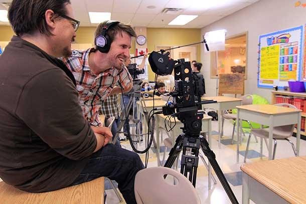 Luke Grandmont (right) works on his short film, The Maltese Guinea Pig.