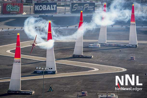 Pete McLeod of Canada performs and wins the qualifying for the seventh stage of the Red Bull Air Race World Championship at the Las Vegas Motor Speedway in Las Vegas, Nevada, United States on October 11, 2014. Photo by Andreas Langreiter / Red Bull Content Pool
