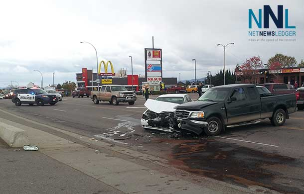 A motor vehicle collision on Red River Road has damaged two vehicles.