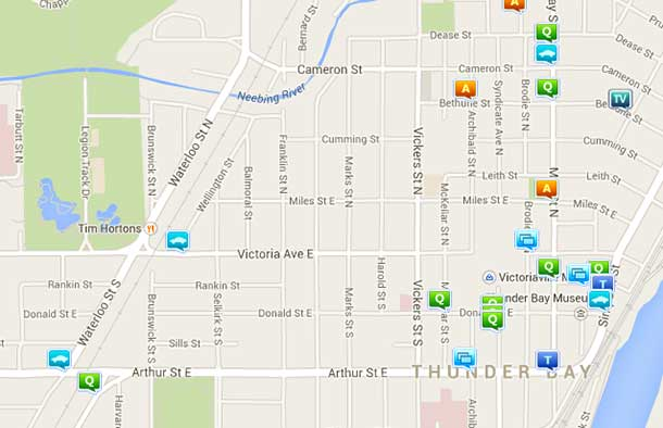 Crime Map for Thunder Bay South - October 9 2014