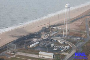 An aerial view of the Wallops Island launch facilities taken by the Wallops Incident Response Team Oct. 29 following the failed launch attempt of Orbital Science Corp.'s Antares rocket Oct. 28. Image Credit: NASA/Terry Zaperach