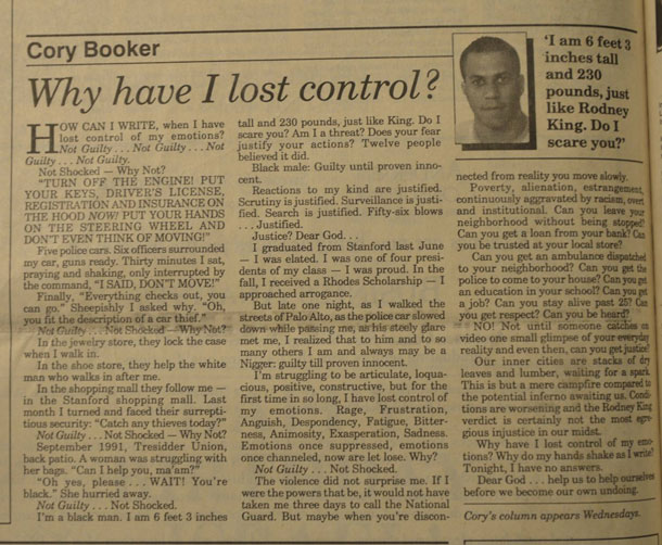 Senator Cory Booker from New Jersey shares his column from the time of the Rodney King Verdict.