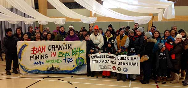 Cree walkers and their supporters prepare to leave from Mistissini for the StandAgainstUranium march.