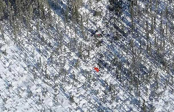 The site of a small-plane crash in northern Ontario is seen from the air. Photo by Captain Daryl Mason, courtesy of 17 Wing