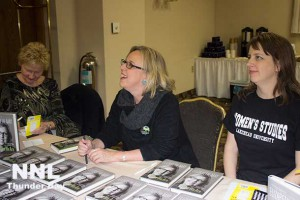 Elizabeth May, Leader of the Green Party of Canada at book signing at the Prince Arthur Hotel in Thunder Bay Ontario