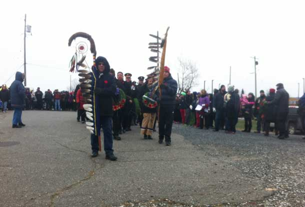 Hundreds of people gathered and made the journey up the hill to Mount McKay for the Fort William First Nation Remembrance Day Services