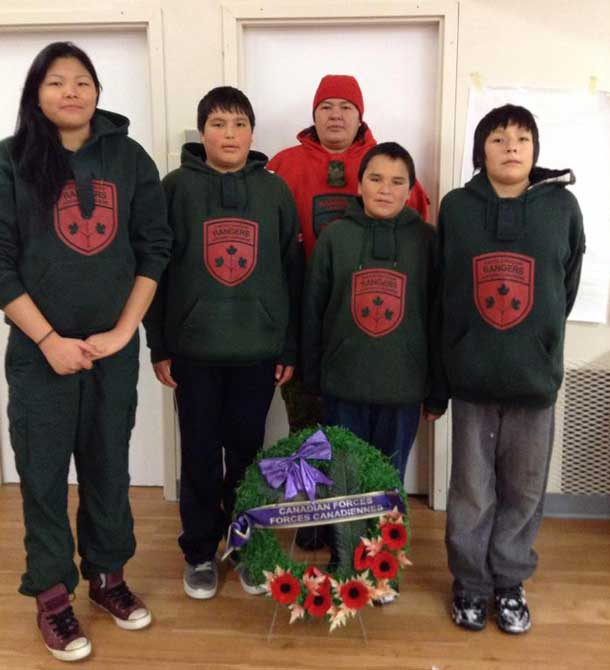 Members of the Junior Canadian Rangers at the Fort Severn Remembrance Day services
