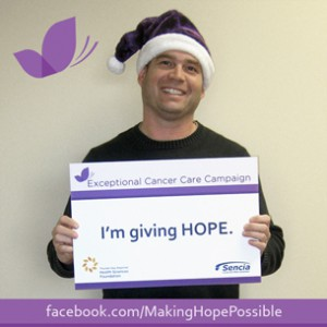 Visit www.facebook.com/MakingHopePossible for updates on the 50/50 Draw and photos of individuals who are Making Hope Possible by buying a book of 10 tickets ($20), like Jason Bruce ! The early bird draw for a $500 Intercity Shopping Centre gift card takes place December 2nd, followed by the 50/50 Cash Draw on December 23rd.