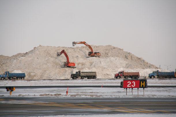 Mountains of snow at Toronto Pearson