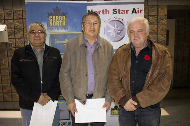 Chief Gordon Beardy - Sachigo Lake, Chief Alvin Beardy, Muskrat Dam with Frank Kelnor from Northstar Air