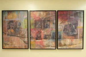 """Tonto"" (above), a triptych by local artist Cree Stevens, hangs at Thunder Bay Regional Health Sciences Centre."