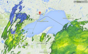 Weather Map showing the frontal system headed to Thunder Bay - image at 21:15EST