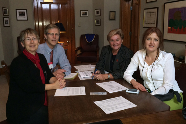 (from left to right) Christine Penner Polle, Dr. Mark Polle, Senator Marie-P Charette-Poulin, and CCL National Manager Cathy Orlando met in Ottawa to discuss a revenue-neutral carbon dividend proposal.