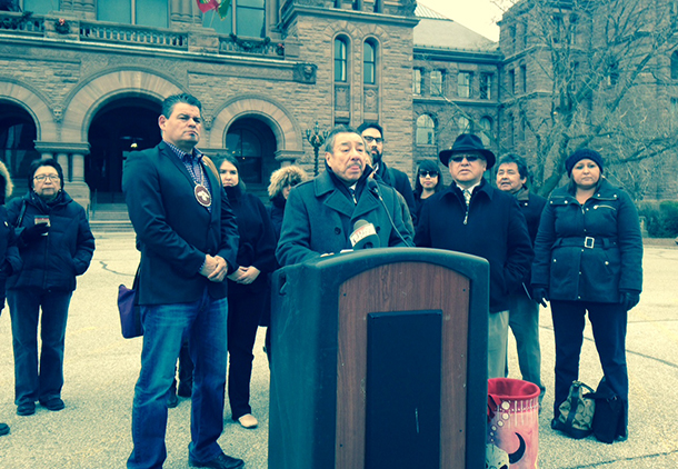 Regional Chief Beardy at the podium after the meetings with the Ontario Government