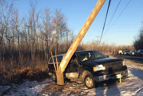 Power Pole knocked out again on the road to Fort William First Nation