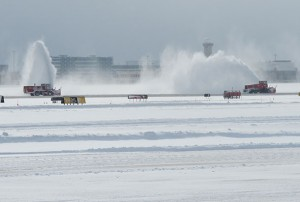 Heavy Duty Snow Ploughs and Snow Blowers keep the runways clear and the airport open