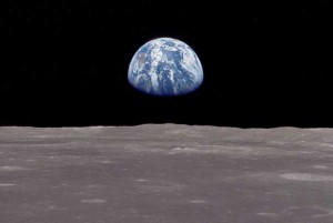 Earth rise as seen from Apollo 8 the first time man orbited the Moon.