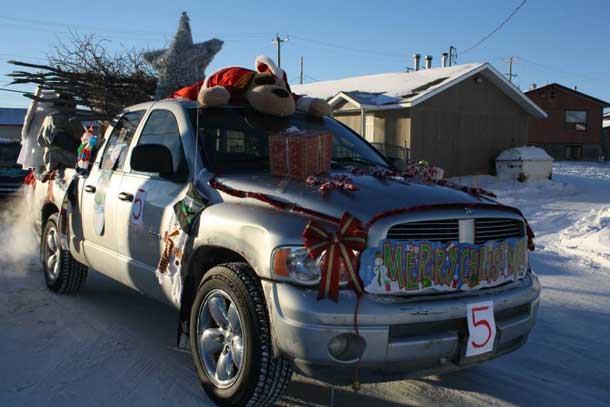 The holiday season in Attawapiskat brought out many colourfully decorated floats. Photo by Rosiewoman Cree