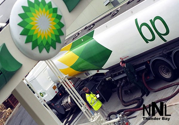 BP Petroleum Tanker at fueling station