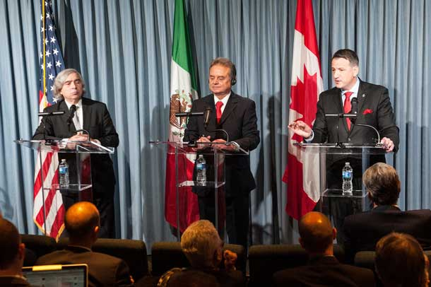 The Honourable Greg Rickford, Canada's Minister of Natural Resources (far right), Dr. Ernest Moniz, U.S. Secretary of Energy (far left), and Pedro Joaquín Coldwell, Mexico's Secretary of Energy (centre), discuss strategic vision for North America's energy sector on Monday, December 15, 2014
