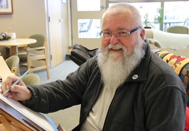 Caricaturist John Tuokko is a long-time volunteer at TBaytel Tamarack House, a home away from home for cancer patients from outside Thunder Bay coming for treatment at the Cancer Centre.