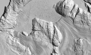 This elevation map of two outlet glaciers in Greenland is part of a set of maps created by researchers at The Ohio State University and the University of Minnesota. The researchers took Worldview satellite data and processed it with Ohio State software. The resulting maps, which made their debut at the American Geophysical Union meeting on Dec. 18, are the highest resolution elevation maps ever created of the study region, which so far covers part of Alaska and the Greenland Ice Sheet. Shown here are the outlet glaciers Sermeq Silardleq (middle top) and Kangigdleq (middle bottom). Credit: The Ohio State University and the University of Minnesota