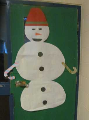 Frosty the Snowman on the classroom door in Sachigo Lake