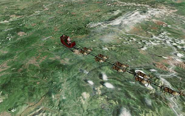NORAD Santa Tracking shows that the jolly old elf has started his annual trek