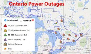 Strong Winds across Southern Ontario have caused power outages
