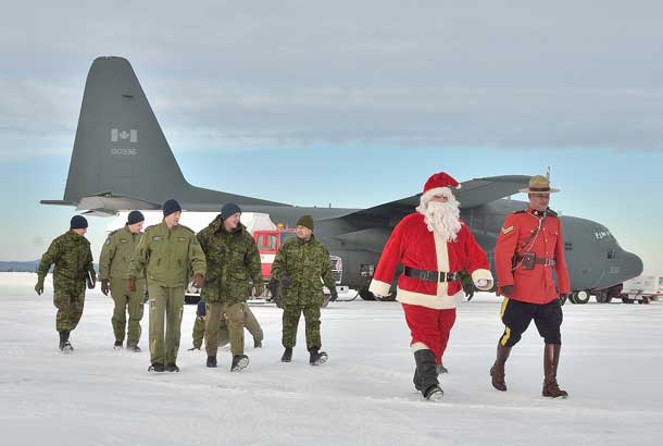 Santa along with his special helpers from the RCAF and RCMP