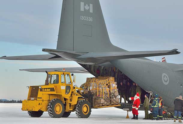 Santa still of course uses his magical sleigh on Christmas Eve, but the reindeer have to rest up for that long winter's night so the RCAF helps out too.