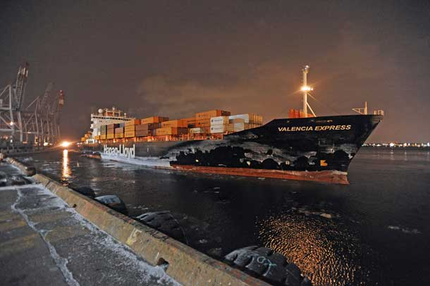 The Valencia Express is the first ship of the year for the Port of Montreal