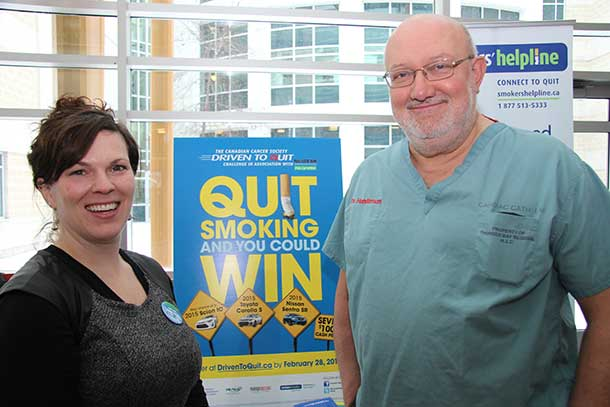 Naomi McNeill, Senior Coordinator, Smokers' Helpline, Northwestern Region; on the right, Dr. Mark Henderson, Executive Vice-President, Patient Services, TBRHSC, and Regional Vice-President, Cancer Care Ontario.