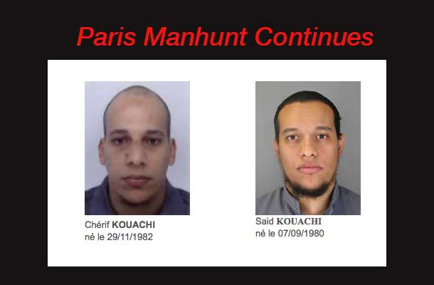 Authorities in Paris remain on attack alert as the manhunt for two suspects in the terror attack on Charlie Hebdo continue