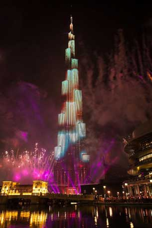 The Downtown Dubai New Year's Eve Gala, a dazzling never-before-seen show of fireworks, LED light and laser beam displays