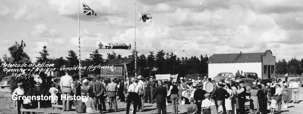 On September 7, 1940, the highway between Nipigon and Geraldton officially opened.  A motorcade made stops and officials made speeches at key points such as Jellicoe.  Thunder Bay Public Library photo.