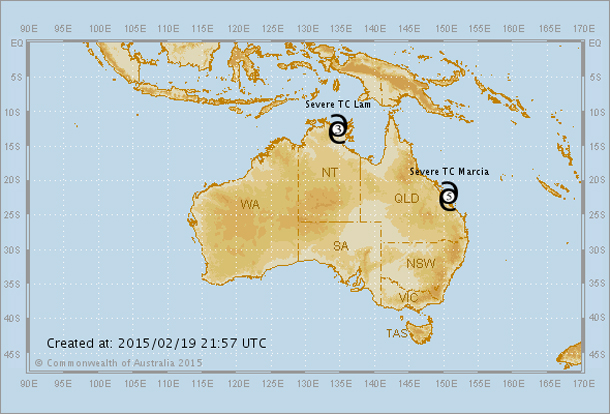 "A Cyclone ""Sandwich"" is forecast to hit Australia"
