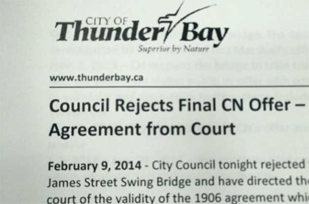 Thunder Bay City Council Rejects James Street Bridge Offer from CN