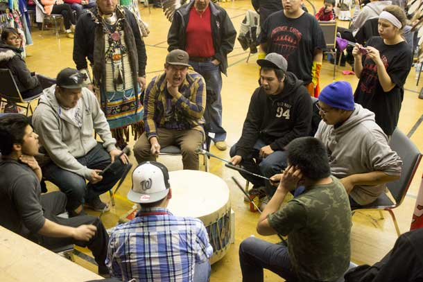 Shadow Creek drumming at For the Love of it Pow Wow